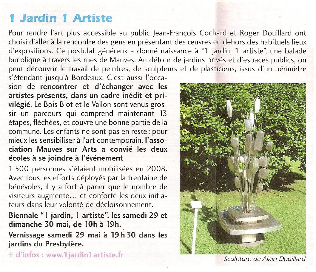 Actualit 1 jardin 1 artiste page 3 for Artistes de jardin